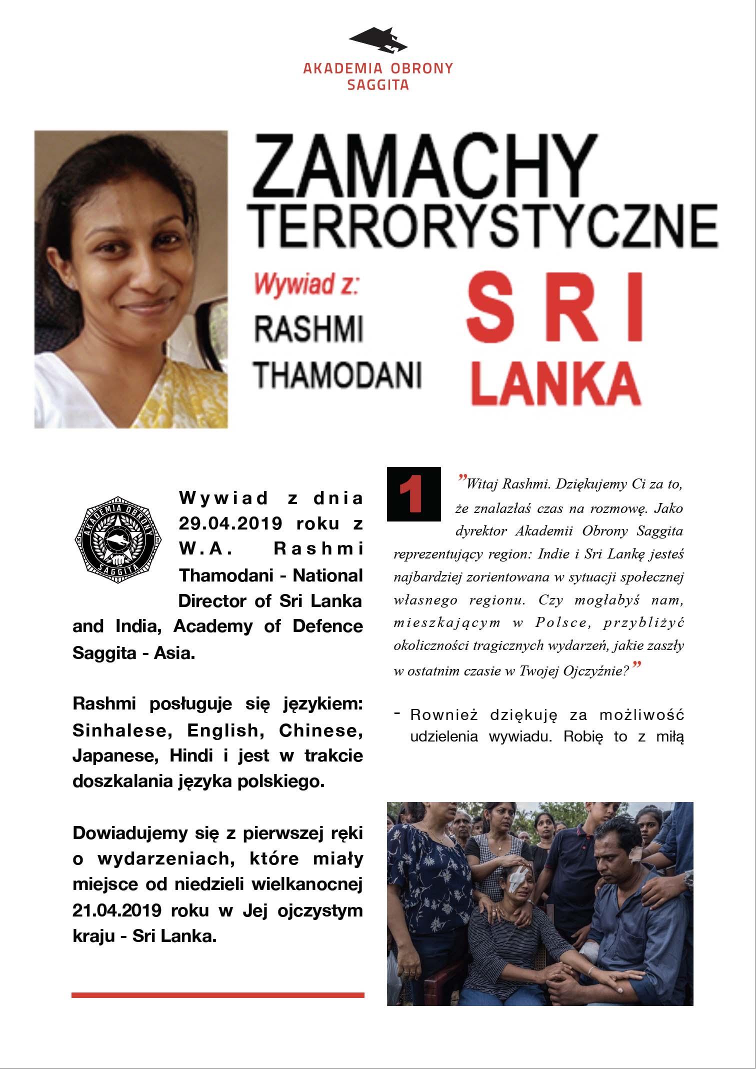 1. Akademia Obrony Saggita Tadeusz Dubicki Zamachy terroryrstyczne na Sri Lance