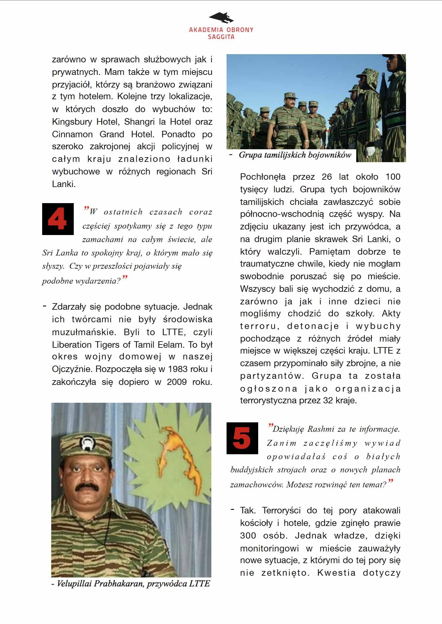 3. Akademia Obrony Saggita Tadeusz Dubicki Zamachy terroryrstyczne na Sri Lance